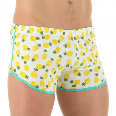 VAN BAAM BOEFJE Мужские шорты домашние белые с ананасами 35638