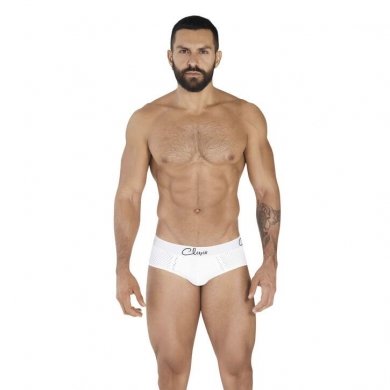 clever Мужские трусы брифы белые в сетку Clever TIME PIPING BRIEF 036701
