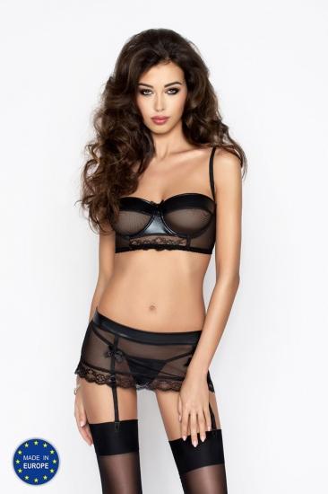 passion erotic line Canne set Black Бюст + пояс + стринги