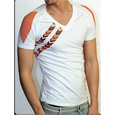 Doreanse Мужская футболка белая с коричневым рисунком 2575