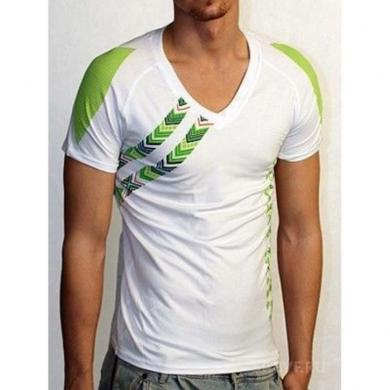 Doreanse Мужская футболка белая с зеленым принтом 2575