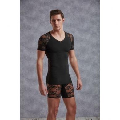 Doreanse Мужская футболка черная с кружевными вставками 2552