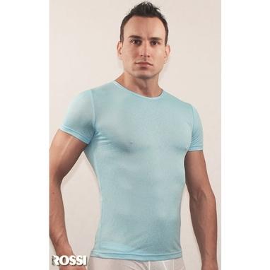 Romeo Rossi Мужская футболка голубая в узорчатую сетку в виде роз Romeo Rossi Blue Rose RR00501