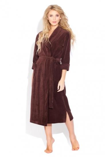 evateks Удлиненный велюровый халат (E 383) шоколадный