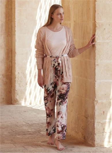 miss loren Стильный комплект - тройка. Вязанный кардиган, брюки и лонгслив Miss Loren (E 1608)