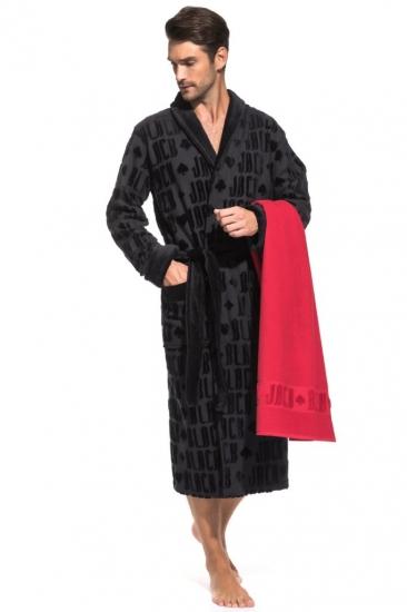 pÊche monnaie Набор: махровый халат и полотенце Black Jack в подарочной коробке (PM France) халат-черный/полотенце-красное