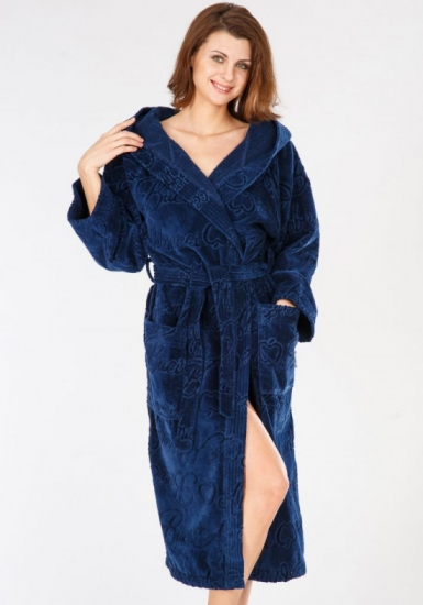 baci & abbracci Женский халат из велюровой махры B&A_ Velour donna blu