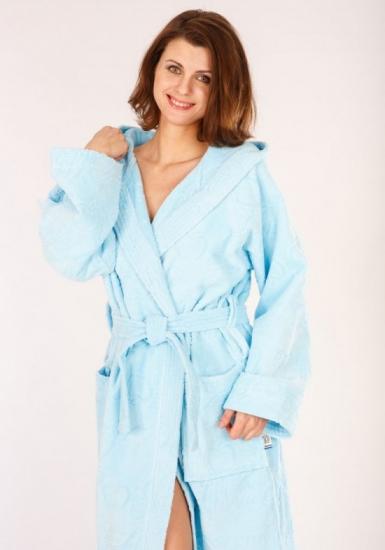 baci & abbracci Длинный голубой халат с капюшоном B&A_ Velour donna celeste