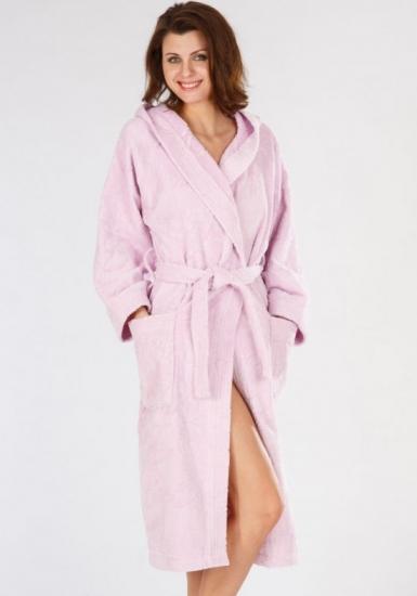 baci & abbracci Женский махровый халат с карманами B&A_ Velour donna rosa