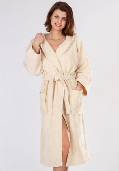baci & abbracci Велюровый махровый халат с капюшоном, бежевый B&A_ Velour donna panna
