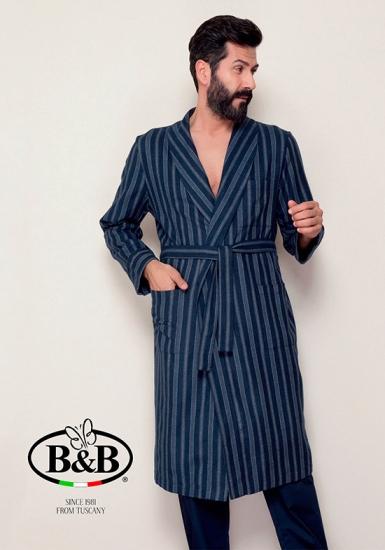 b&b Мужской халат в полосу с поясом B&B_Stelvio