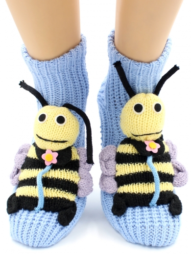 "HOBBY 093 носки вязаные АВС ""Пчелка на голубом"""
